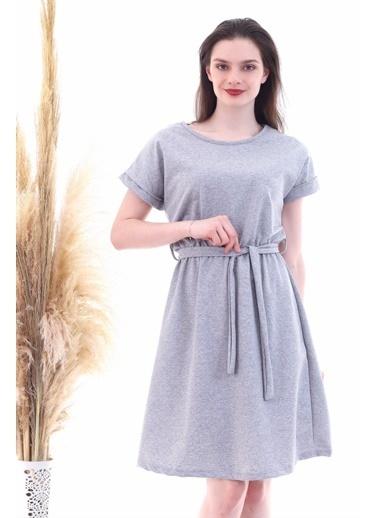 Cottonmood 9292931 Ikiiplik Beli Lastikli Yarasa Kol Elbise Gri Melanj Gri